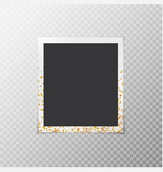 Photo frame with confetti stars vector