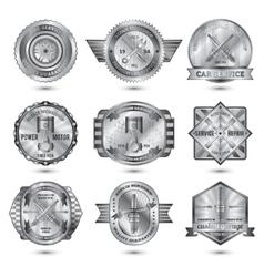 Repair Workshop Metal Emblems Set vector image