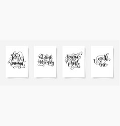 set of 4 hand lettering posters on a white vector image vector image