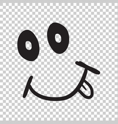 Simple smile with tongue icon hand drawn face vector