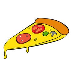 slice of pizza icon cartoon vector image vector image