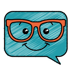 Speech bubble message with glasses kawaii vector