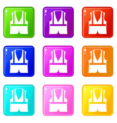 Vest icons 9 set vector
