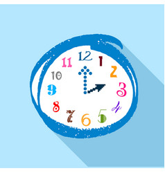 Watch with multicolored numbers icon flat style vector