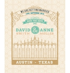 Wedding invitation vintage card with vector image vector image