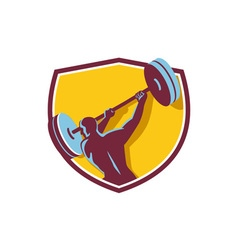Weightlifter Swinging Barbell Rear Crest Retro vector image