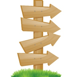 wooden pointer on a green grass vector image