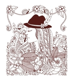 Zen Tangle girl in hat and vector image