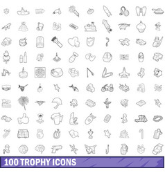 100 trophy icons set outline style vector