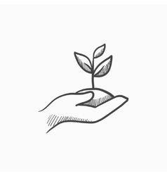 Hands holding seedling in soil sketch icon vector image