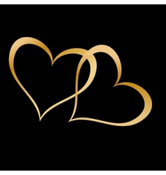 Two golden hearts on black vector image