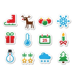 Christmas winter black icons set as labels vector
