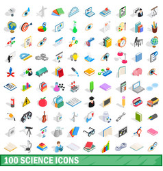 100 science icons set isometric 3d style vector image