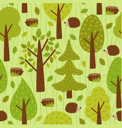 Seamless pattern with hedgehog in forest vector