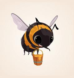 happy smiling flying bee character mascot vector image