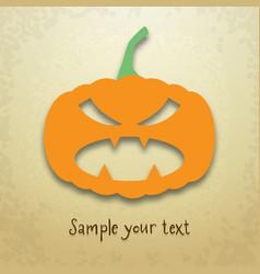 Halloween card with evil pumpkin vector