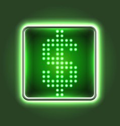Dollar currency sign neon icon vector image