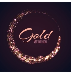 Gold rounded banner with glow effect on dark vector