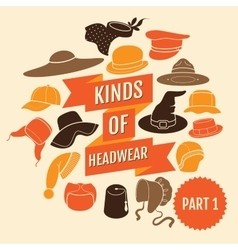 Kinds of headwear part 1 vector