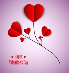 Valentine card with twig and red hearts template vector
