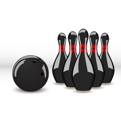 Bowling ball and pins vector