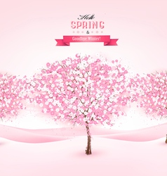 Spring background with cherry blossom trees vector