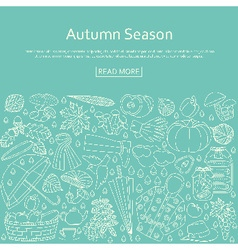 Autumn background made of many line icons vector image vector image