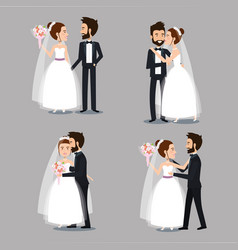 Bride and groom set wedding couples romantic vector