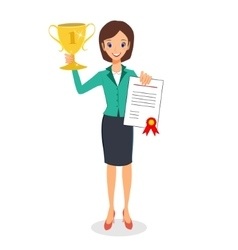 Business woman winner holding prize and vector image vector image