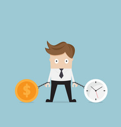 businessman gets chained with clock and money vector image