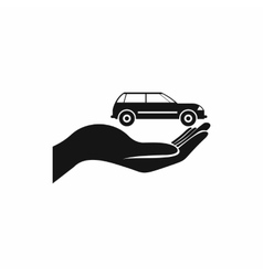 Car in hand icon simple style vector