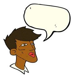Cartoon male model guy with speech bubble vector