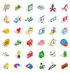 Cheque icons set isometric style vector