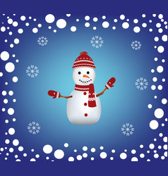 christmas card with a snowman and snow border vector image vector image