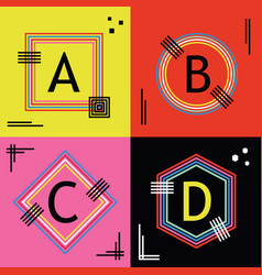 Colorful capital letters a b c and d line emblems vector