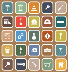 Construction flat icons on brown background vector