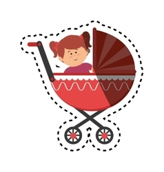 Cute little girl character in baby cart vector