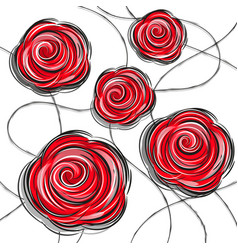 Design red rose flowers vector