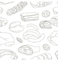Different kinds of meat collection pattern vector
