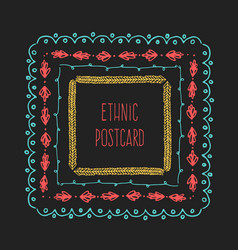 ethnic postcard background with hand drawn line vector image vector image