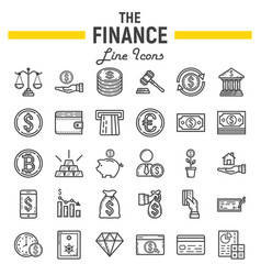 Finance line icon set business symbols collection vector