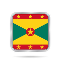 flag of grenada shiny metallic gray square button vector image vector image