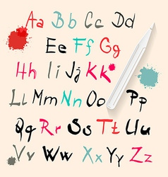 Funky Hand Written Alphabet Set Isolated on Retro vector image vector image