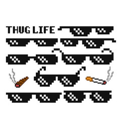 Funny pixelated boss sunglasses gangster thug vector