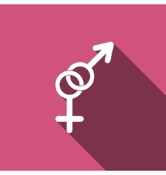 Gender symbol icons with long shadow vector image vector image
