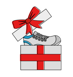 Giftbox with sport shoe tennis vector