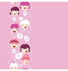 Girls talking vertical seamless pattern background vector image