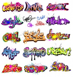 graffiti collection vector image vector image