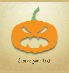 halloween card with evil pumpkin vector image