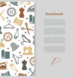 Handmade handcraft sewing banner design vector